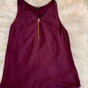 Purple zip-up blouse